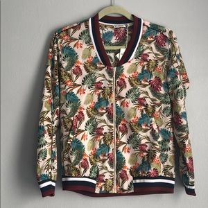 Jackets & Blazers - Floral and palm tree zip up jacket size medium